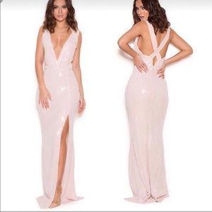 Sebastiana' Blush Sequin Deep V Gown